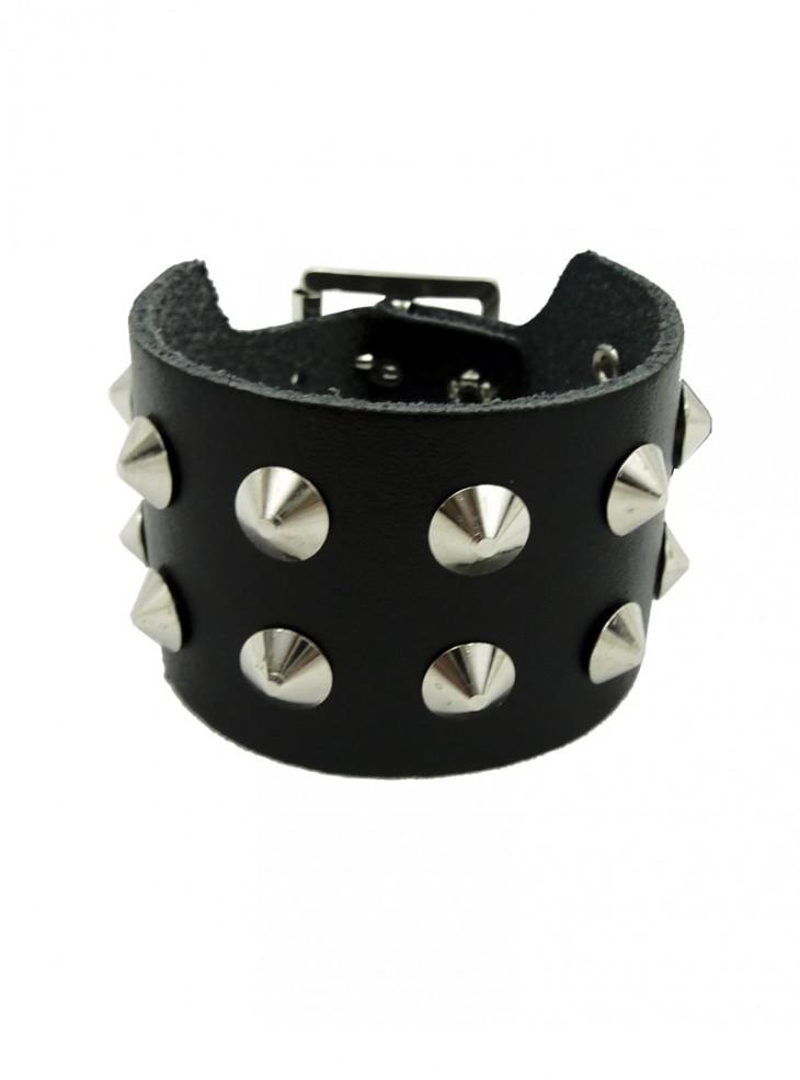 """Bracelet de force Cuir Punk Rock """"Double Conical"""""""