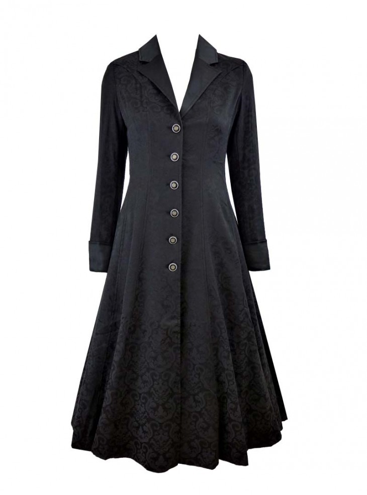 "Manteau Gothique Lolita Rockabilly Chicstar ""Black Brocade Amber"""