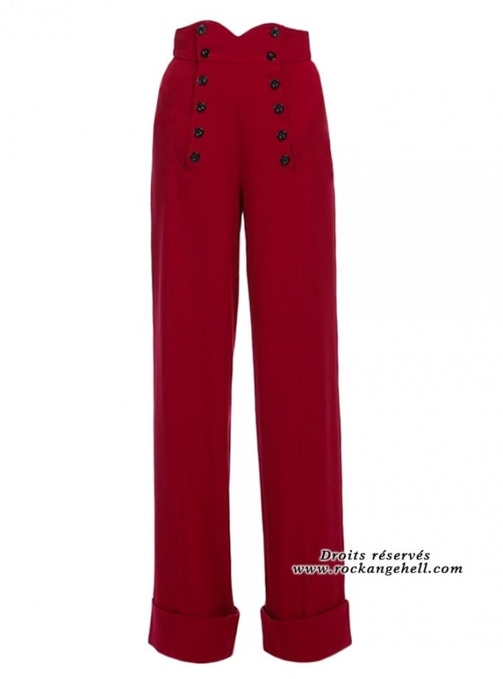 """Pantalon Rockabilly Retro Pin-Up Chicstar """"Emily Red"""""""