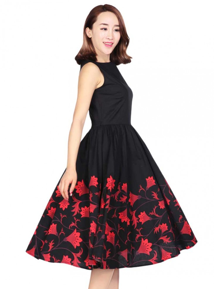 "Robe mi-longue Vintage Pin-Up Rockabilly Chicstar ""Red Flowers"""