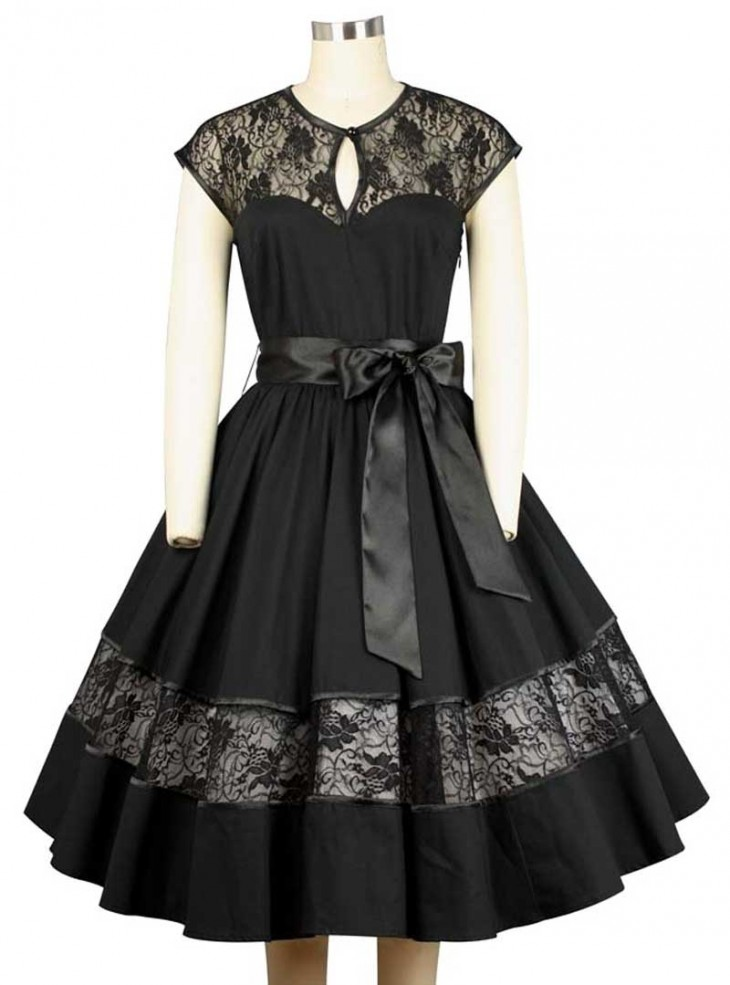 "Robe Rockabilly Gothique Chicstar ""Black Net"""