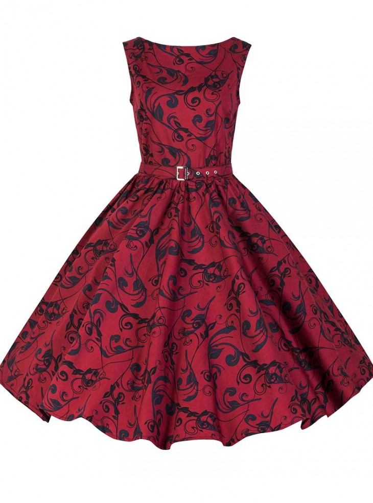"Robe Rockabilly Retro Vintage Chicstar ""Audrey Red Brocart"""