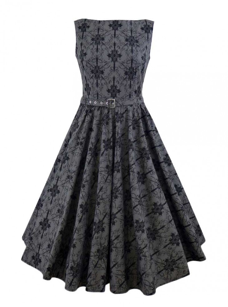 "Robe Gothique Rockabilly Chicstar ""Audrey Grey Brocart"""