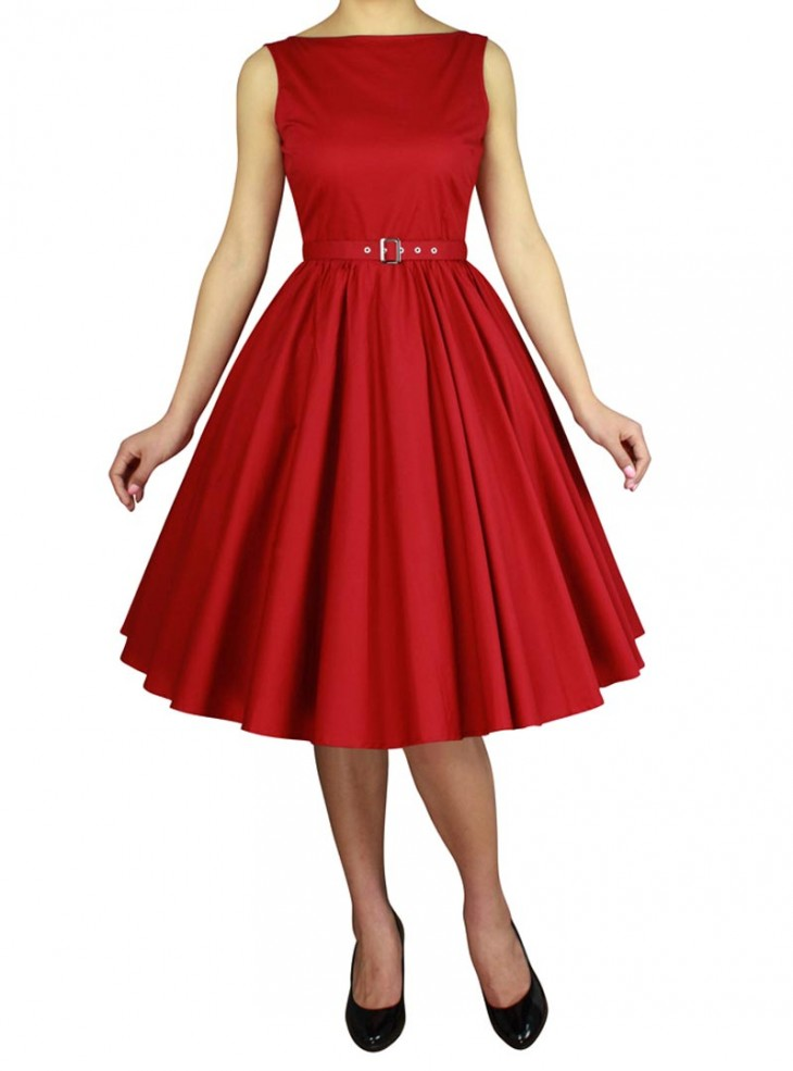 "Robe Années 50 Vintage Rockabilly Chicstar ""Audrey Red"""