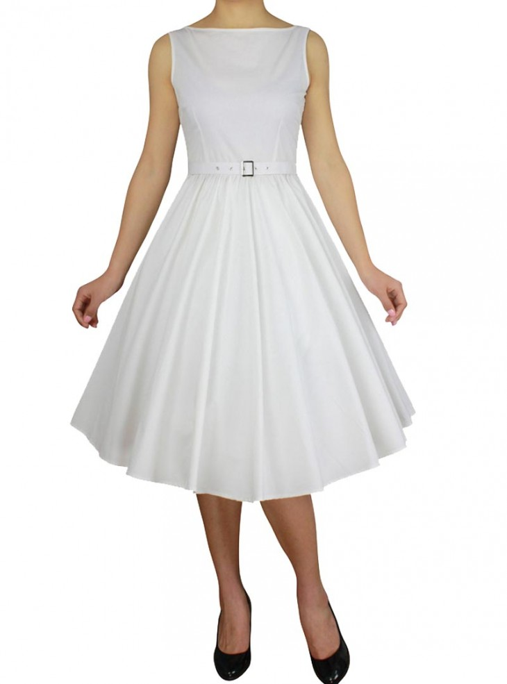 "Robe Années 50 Vintage Rockabilly Chicstar ""Audrey White"""