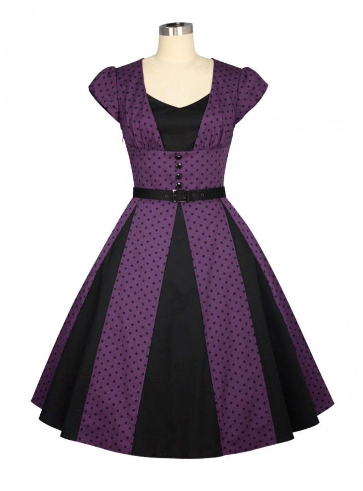 "Robe Années 50 Pin-Up Rockabilly Chicstar ""Marcia Purple"""