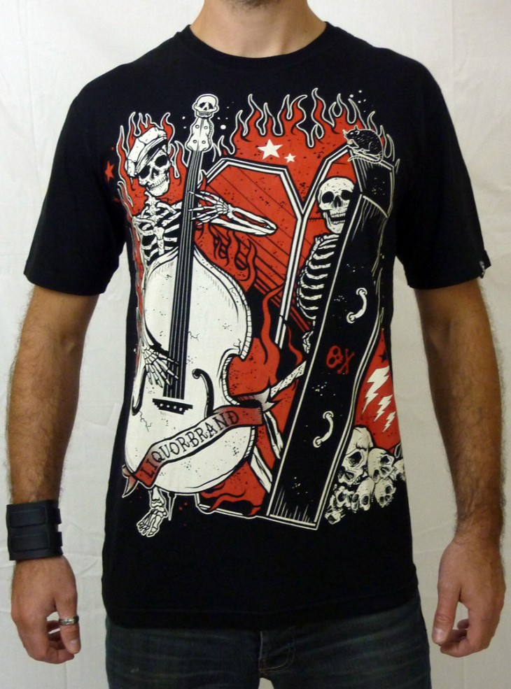 "Tee-shirt rock homme Liquor Brand ""Coffin Bass"""