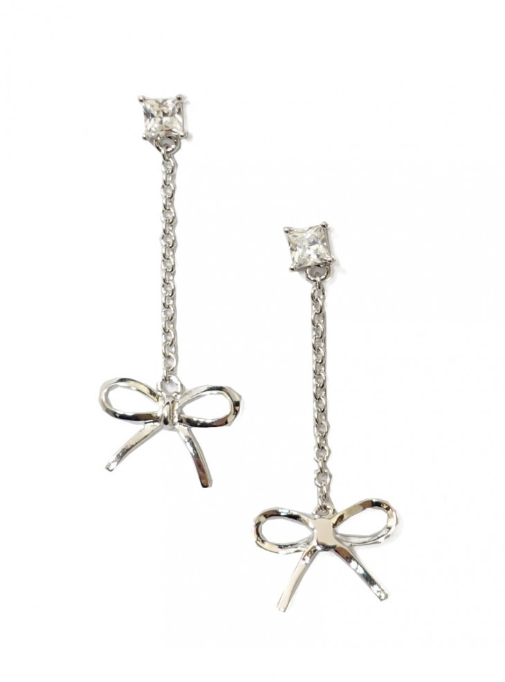 "Boucles d'oreille Rockabilly Pin-Up Années 50 Collectif ""Silver Bow"""