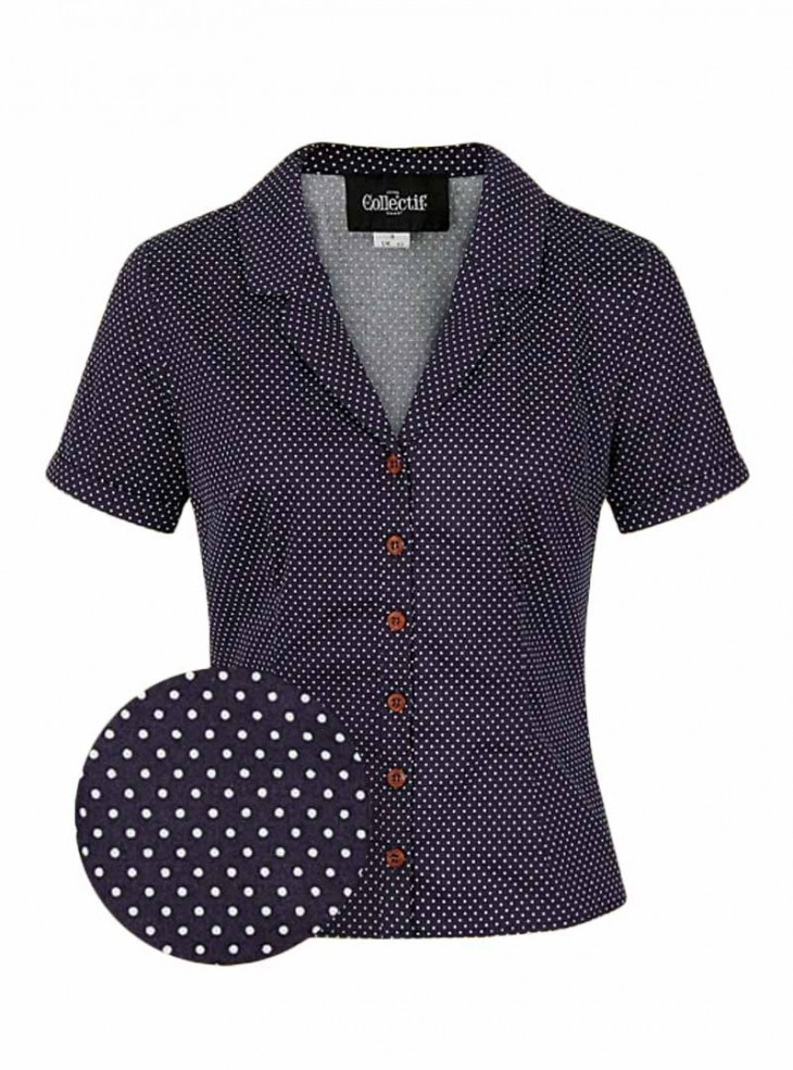 """Chemisier Retro Pin-Up Rockabilly Collectif """"Caterina Blue Dots"""""""