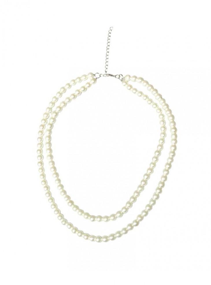 """Collier Perles Rockabilly Retro Vintage Collectif """"Double Pearl"""""""