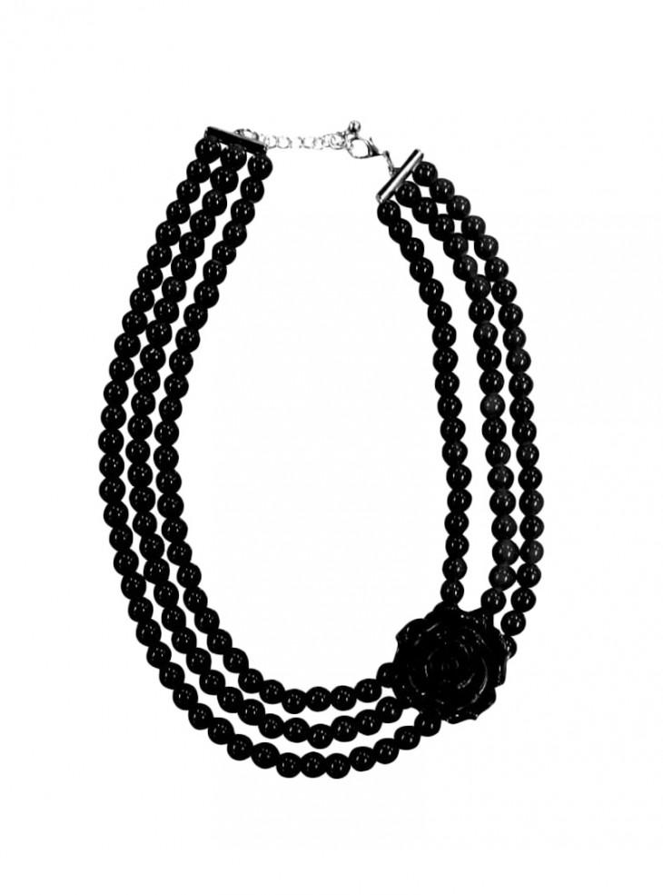 """Collier Perles Rockabilly Retro Vintage Collectif """"Pearl Roses Black"""""""
