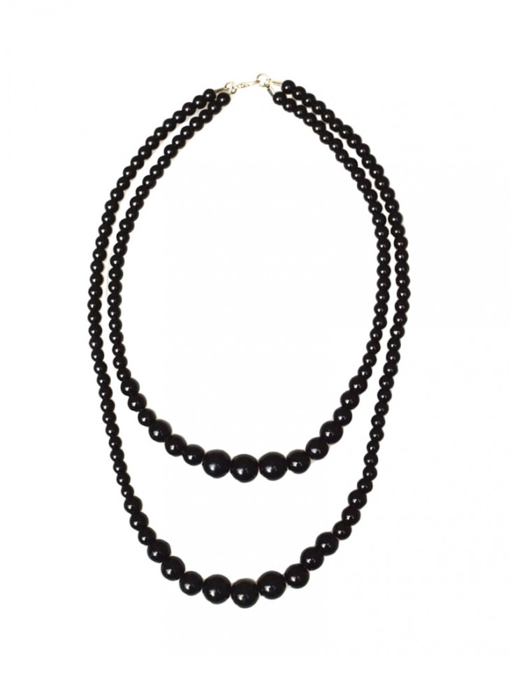 "Collier Perles Vintage Rockabilly Retro Collectif ""Double Pearl Black"""