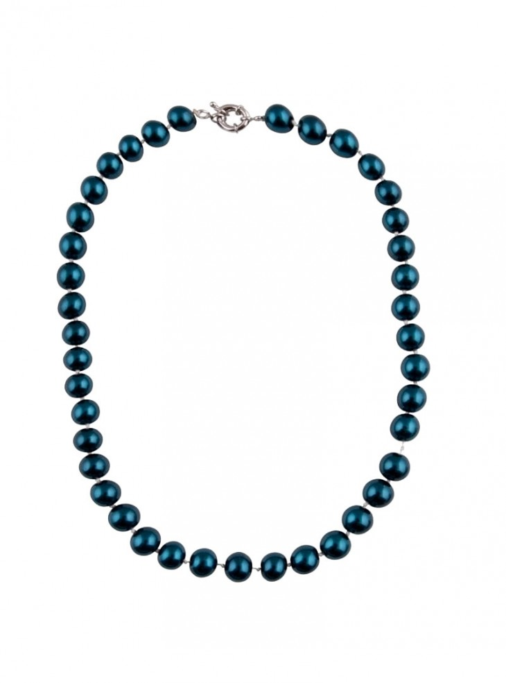 "Collier Perles Rockabilly Pin-Up Années 50 Collectif ""Blue Pearls"""