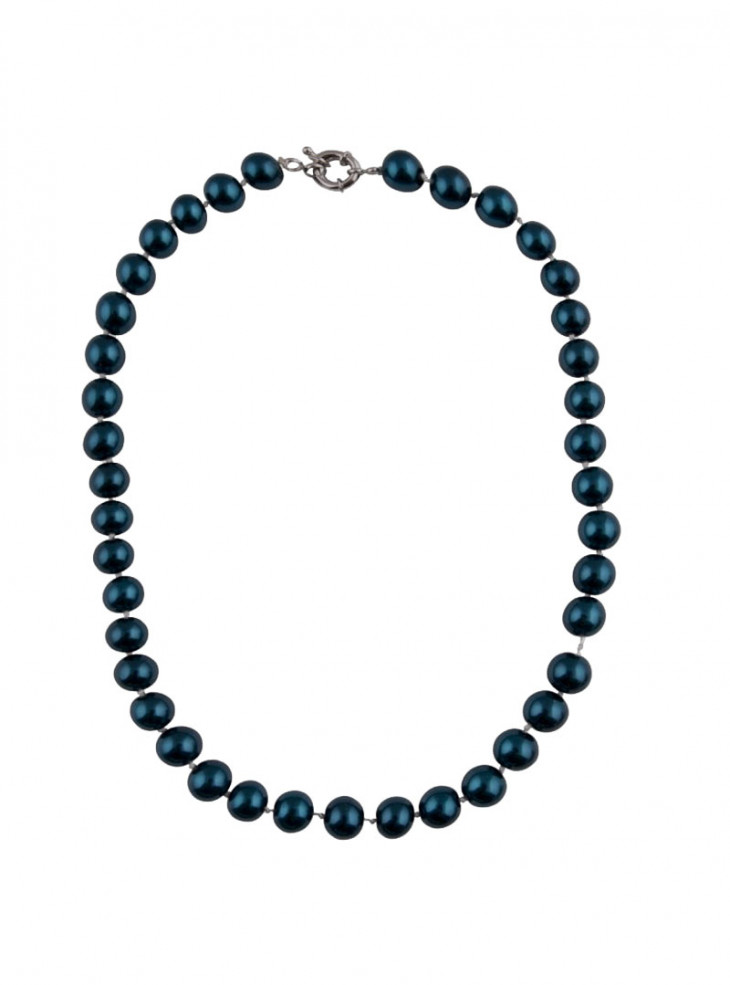 """Collier Perles Rockabilly Pin-Up Années 50 Collectif """"Blue Pearls"""""""