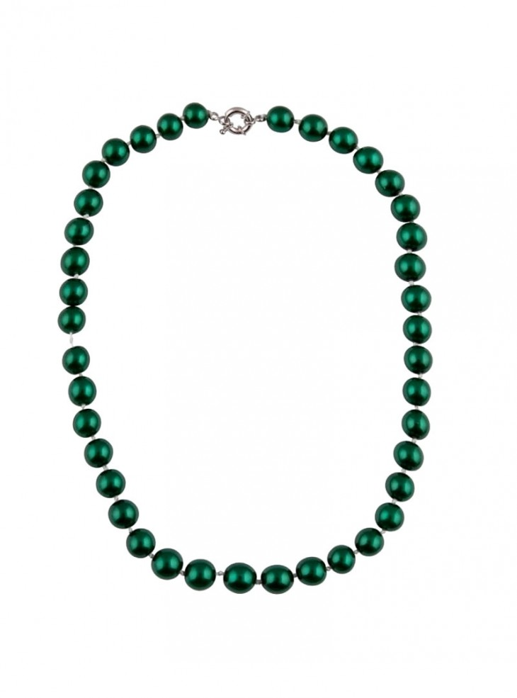 "Collier Perles Années 50 Rockabilly Retro Pin-Up Collectif ""Green Pearls"""