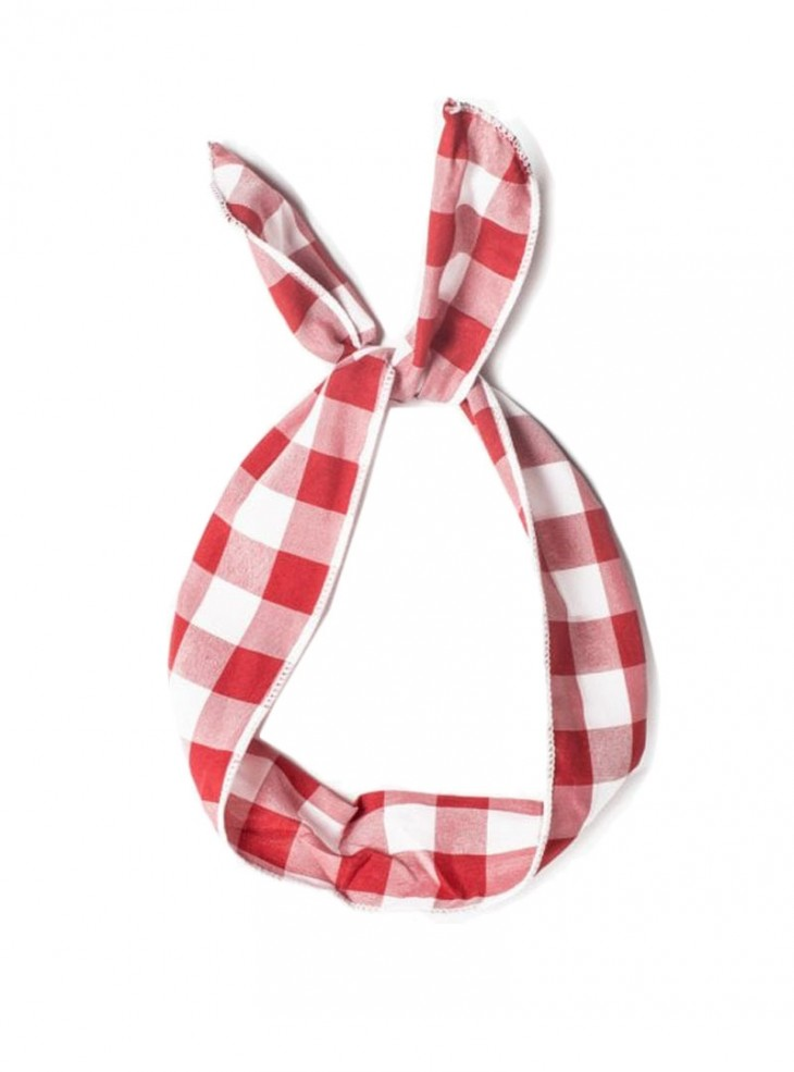 "Foulard Cheveux Rockabilly Retro Pin-Up Collectif ""Vichy Red White"""