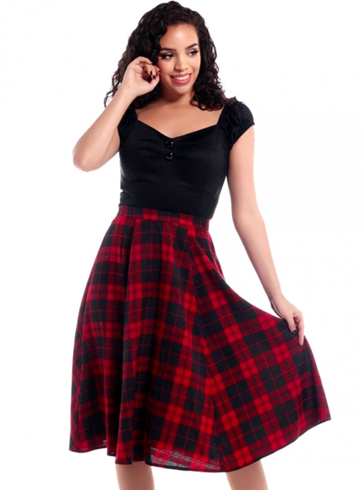 """Jupe Swing Rockabilly Pin-Up Retro Collectif """"Matilde Red Check"""""""
