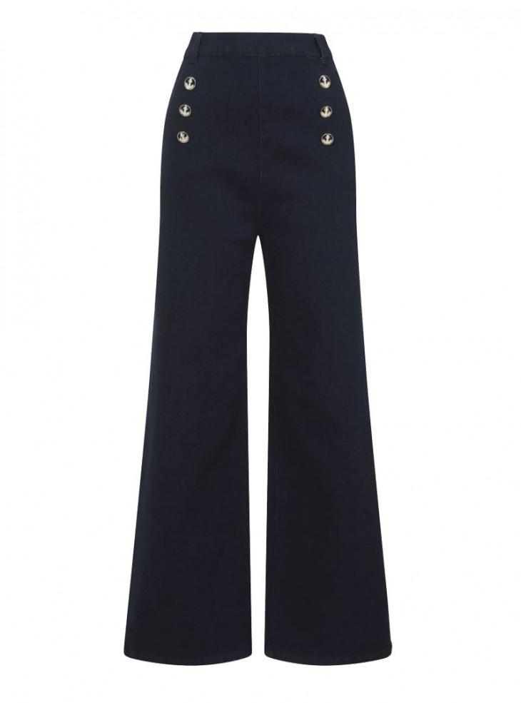 """Pantalon Jeans Sailor Marin Années 50 Pin-Up Rockabilly Collectif """"Taci Nautical"""""""