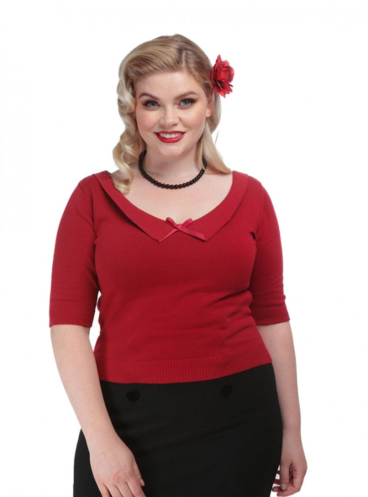 """Pull Rockabilly Vintage Pin-Up Collectif """"Babette Red"""""""