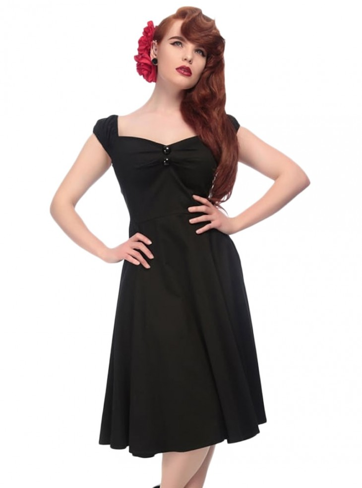 "Robe Pin-Up Rockabilly Années 50 Collectif ""Dolores Doll Black"""