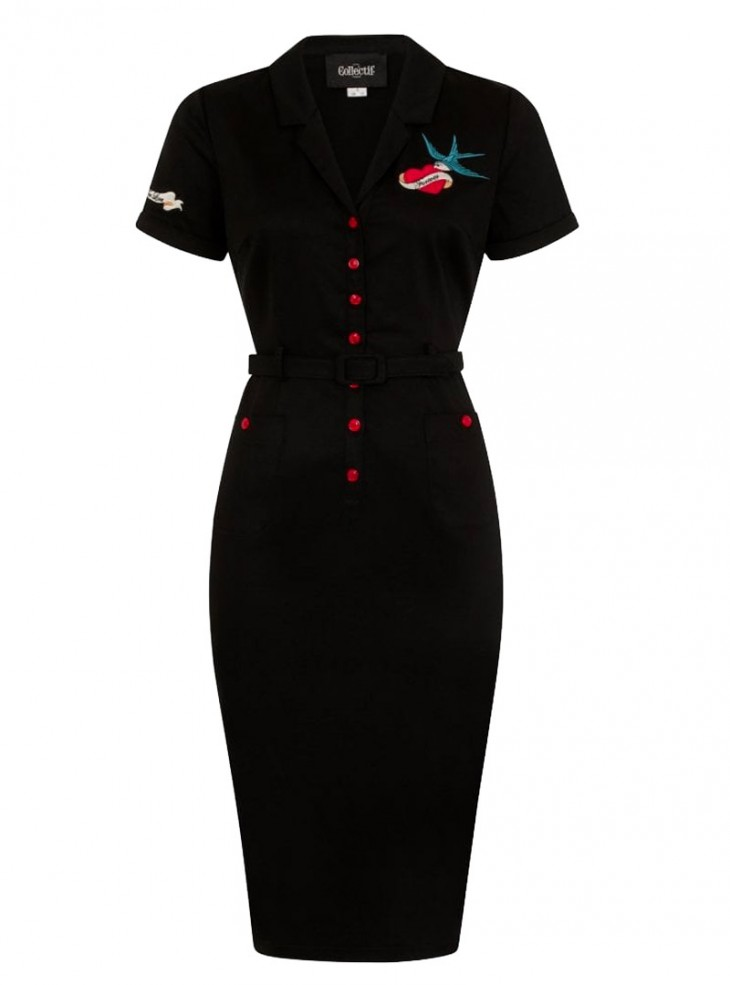 "Robe Crayon Rockabilly Retro Années 50 Vintage Collectif ""Caterina True Love"""