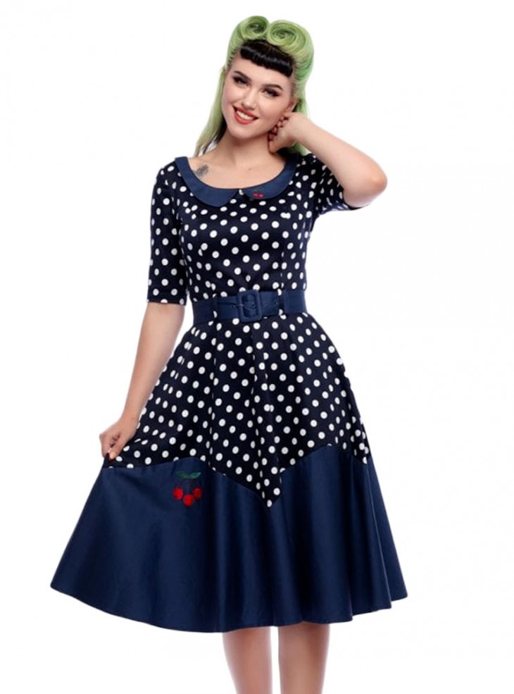 """Robe Années 50 Rockabilly Pin-Up Collectif """"Cherry Doll Blue"""""""