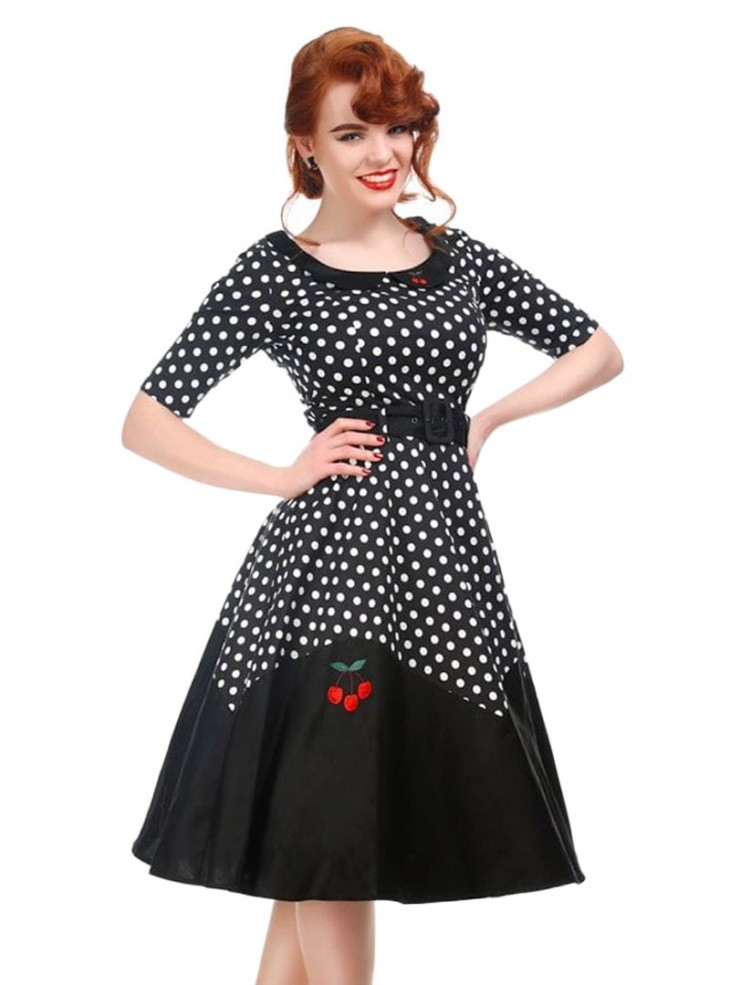"""Robe Rockabilly Années 50 Pin-Up Collectif """"Cherry Doll Black"""""""