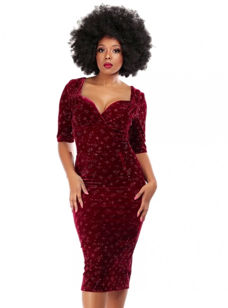"Robe Crayon Soirée Rockabilly Années 50 Pin-Up Retro Collectif ""Trixie Velvet Sparkle Red"""
