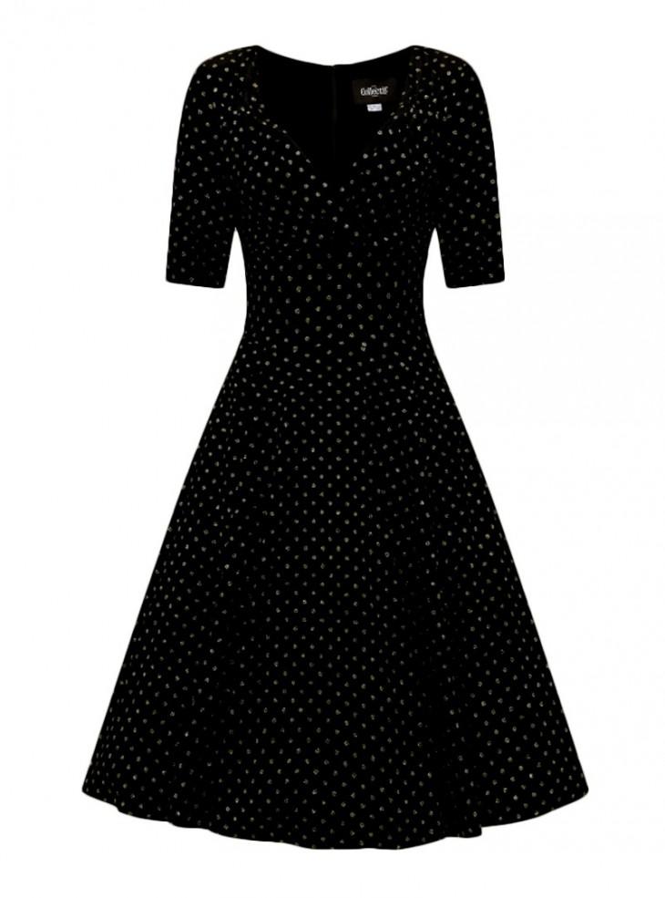 """Robe Soirée Retro Vintage Années 50 Rockabilly Collectif """"Trixie Velvet Sparkle Gold Dots"""""""