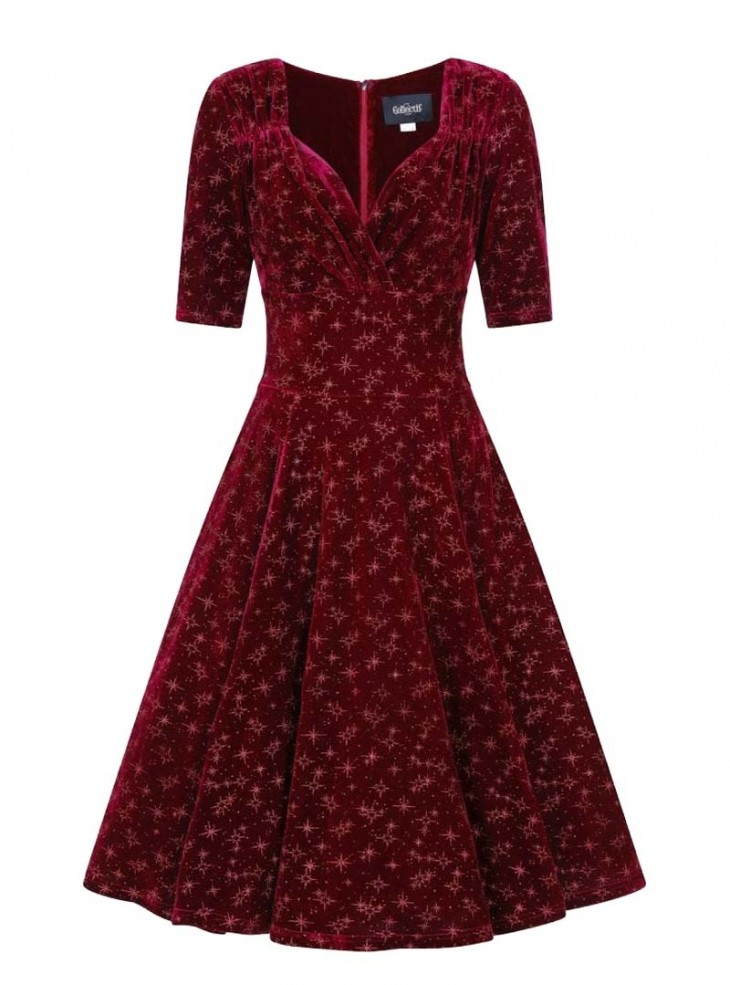"Robe Soirée Rockabilly Pin-Up Retro Collectif ""Red Trixie Velvet Sparkle"""