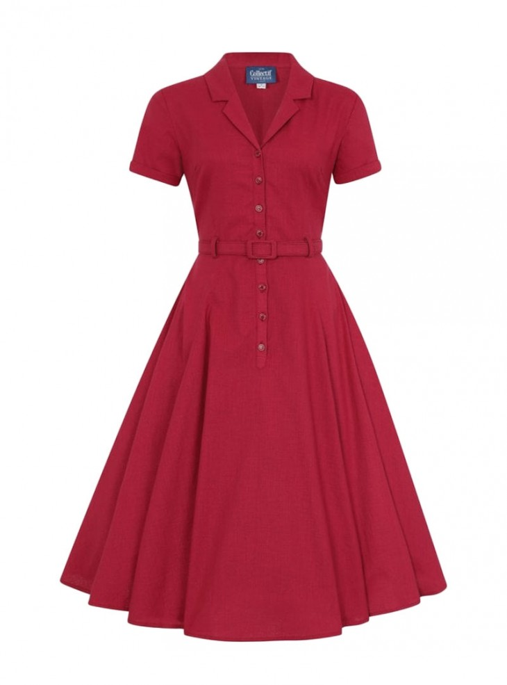 "Robe Rouge Retro Rockabilly Années 50 Vintage Collectif ""Caterina Red"""