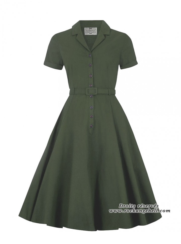 "Robe Vert Olive Rockabilly Retro Vintage Collectif ""Caterina Green"""