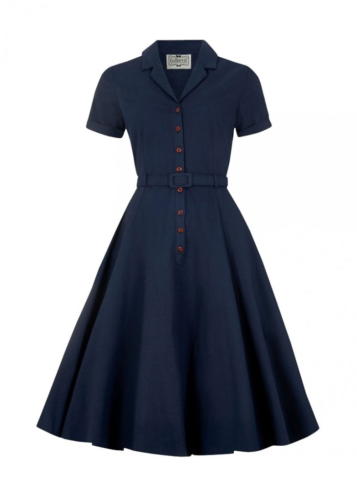 "Robe Bleu Vintage Rockabilly Retro Collectif ""Caterina Blue"""