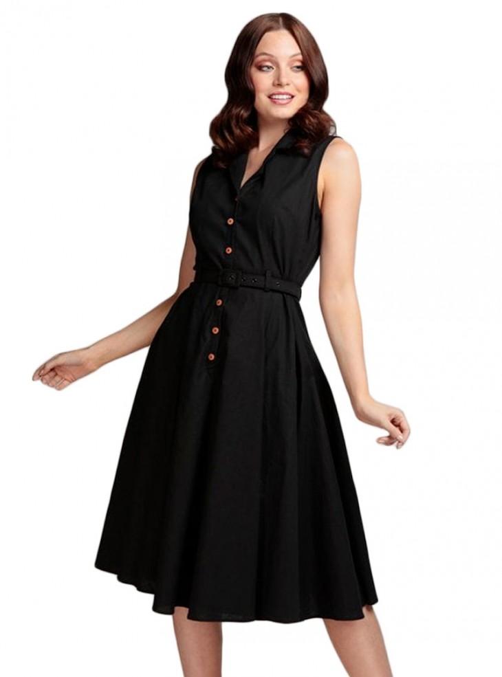 """Robe Noir Retro Vintage Pin-Up Rockabilly Collectif """"Caterina Black"""""""