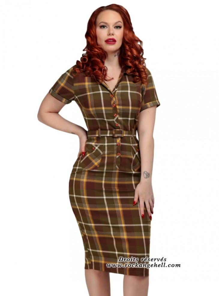 "Robe Crayon Retro Rockabilly Vintage Collectif ""Caterina Mosshill Check"""