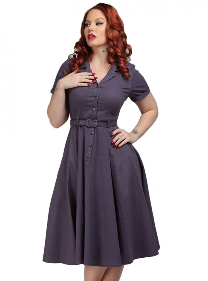 "Robe Violette Rockabilly Vintage Pin-Up Collectif ""Caterina Purple"""