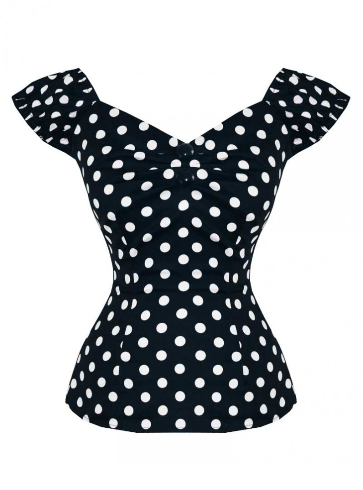 "Tee-shirt Pin-Up Rockabilly Vintage Collectif ""Dolores Black White Dots"""