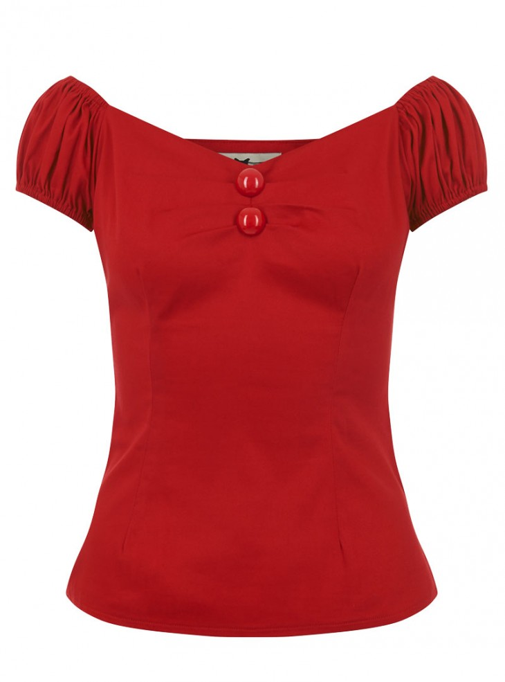 """Tee-shirt Rockabilly Pin-Up Vintage Collectif """"Dolores Red"""""""