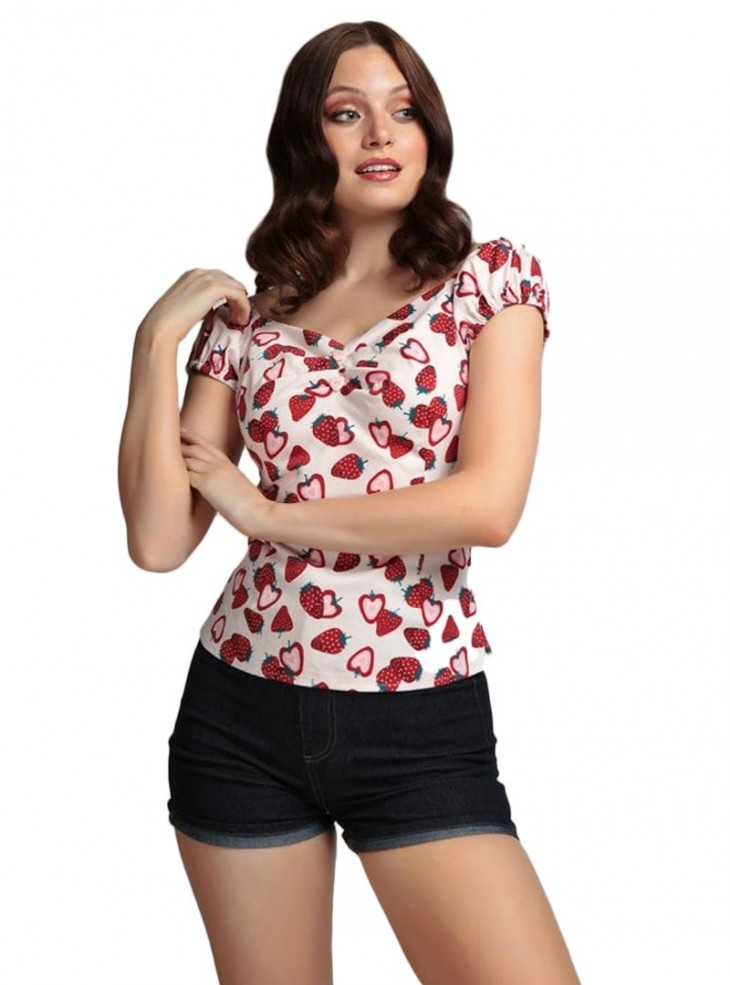 "Tee-shirt Pin-Up Rockabilly Retro Collectif ""Dolores Strawberry"""