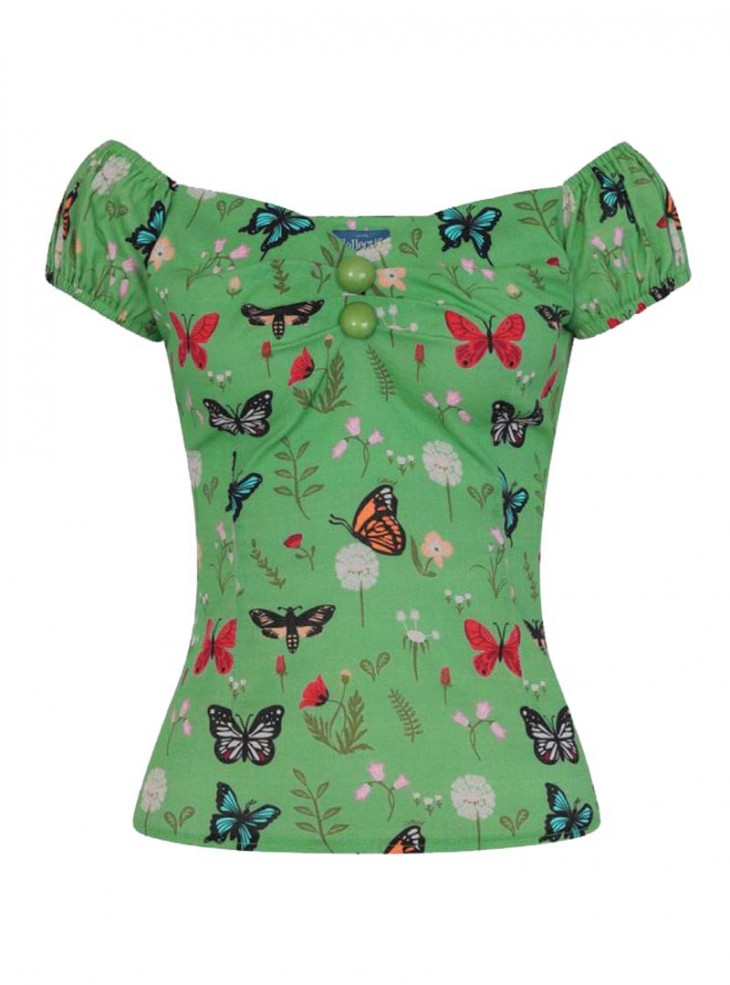 "Tee-shirt Vintage Pin-Up Rockabilly Collectif ""Dolores Butterfly"""