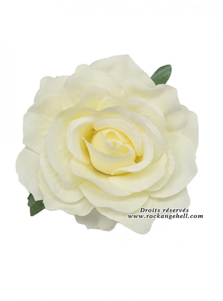 "Barrette Cheveux Broche Mariage Retro Pin-Up Rockabilly ""White Rose"""