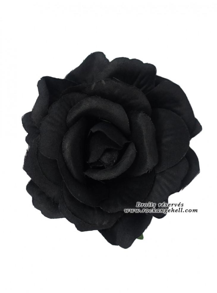 "Barrette Cheveux Broche Mariage Rockabilly Gothique ""Black Rose"""