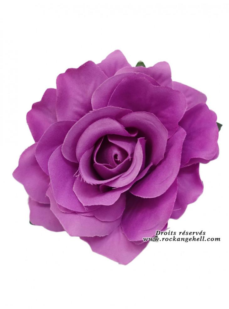 "Barrette Cheveux Broche Mariage Rockabilly Retro Vintage ""Purple Rose"""