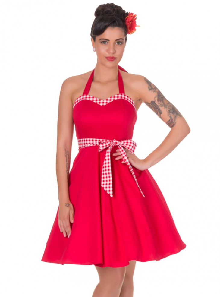 "Robe mi-longue Pin-Up Rockabilly Retro Dolly And Dotty ""Anita Red Vichy"""