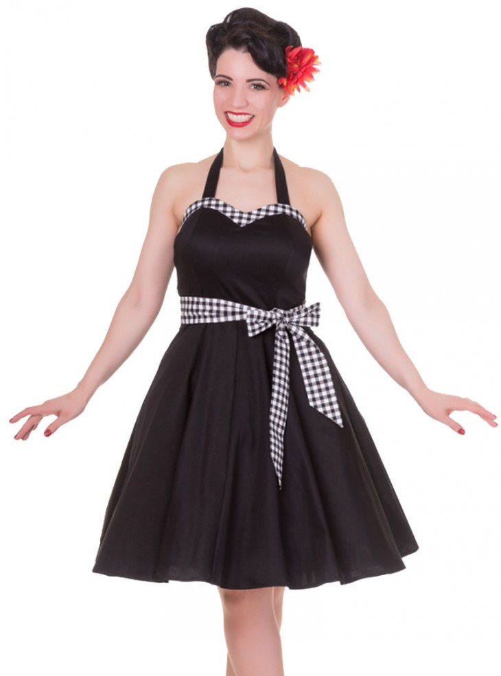 "Robe mi-longue Pin-Up Rockabilly Vintage Dolly And Dotty ""Anita Black Vichy"""