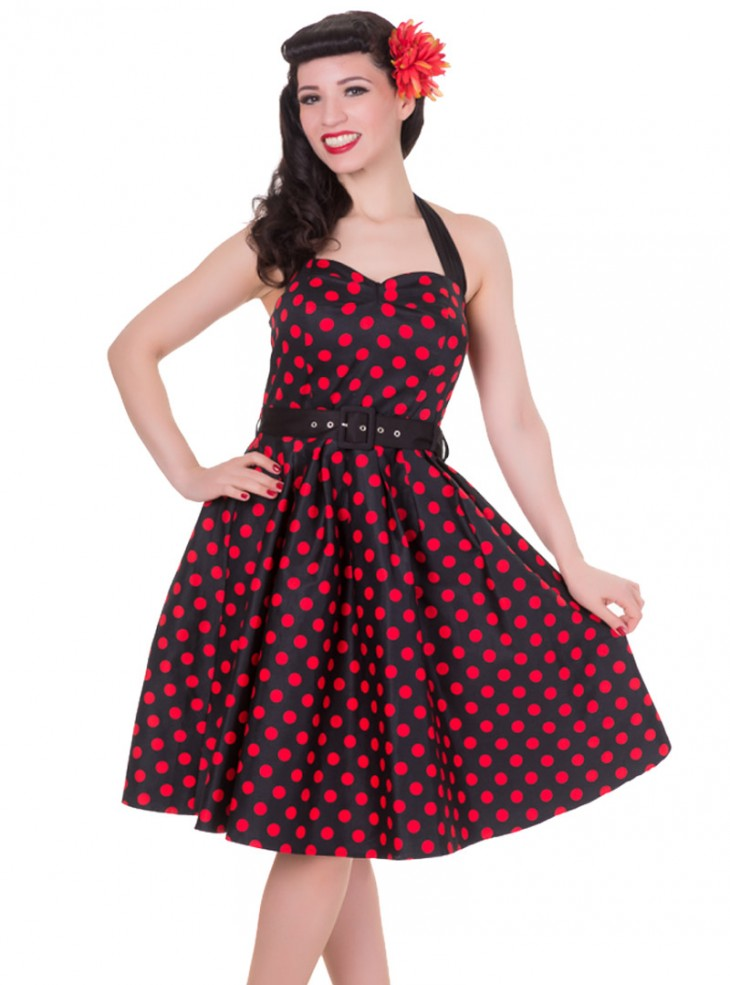 "Robe mi-longue Pin-Up Rockabilly Vintage Dolly And Dotty ""Sophie Black Red Dots"""
