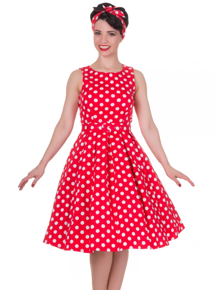 """Robe mi-longue Vintage Pin-Up Rockabilly Dolly And Dotty """"Annie Red Big White Dot"""""""