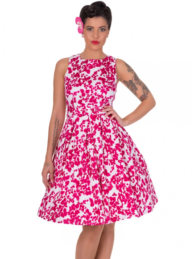 "Robe mi-longue Pin-Up Rockabilly Retro Dolly And Dotty ""Annie Pink Floral"""