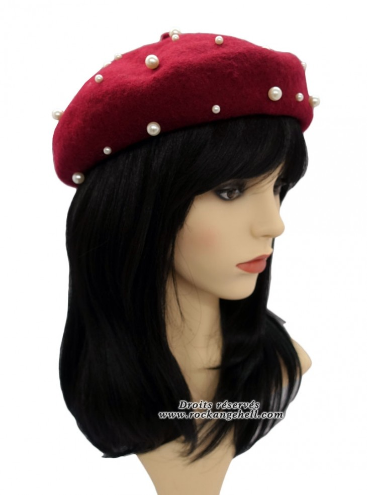 "Béret Bonnet Vintage Rockabilly Retro ""Pearl Burgundy"""