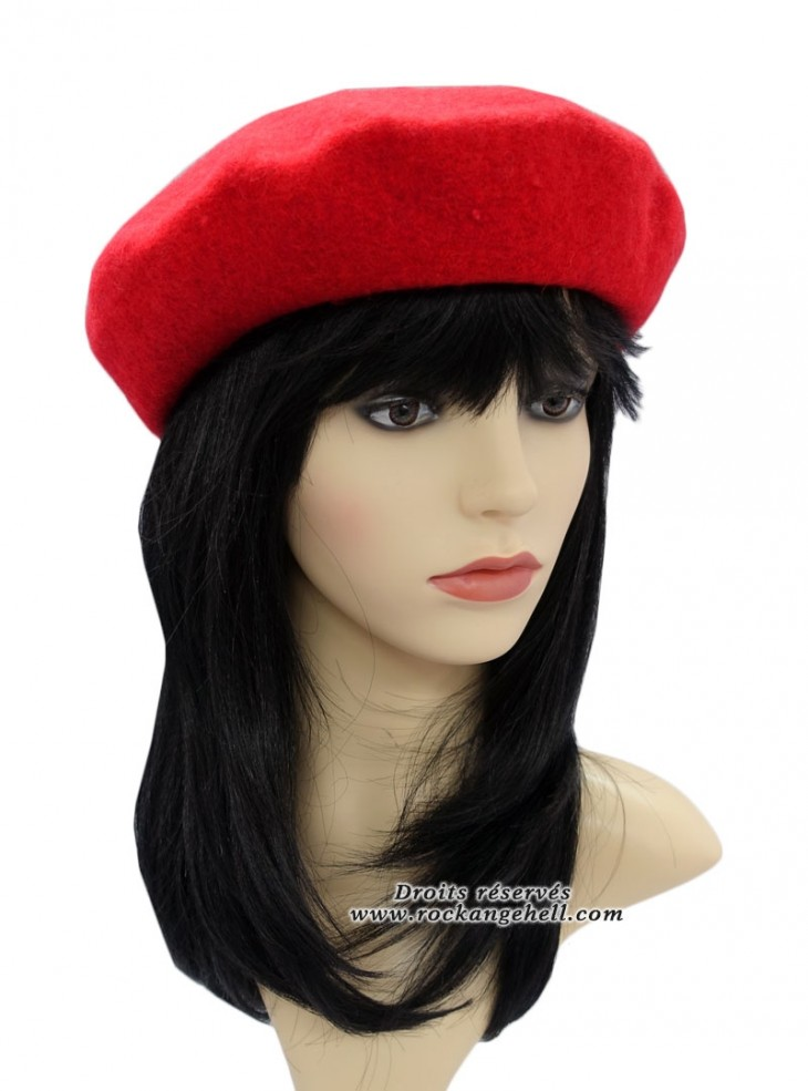 "Béret Bonnet Rouge Pin-Up Rockabilly Retro ""Just Red"""